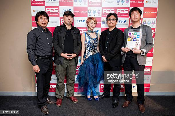 Takao Minai Tatsuyuki Tanaka Una Toshiyuki Kubooka and Shotaro Sano pose after the 'TOYOTA x STUDIO4AC meets ANA PES' press conference during the...