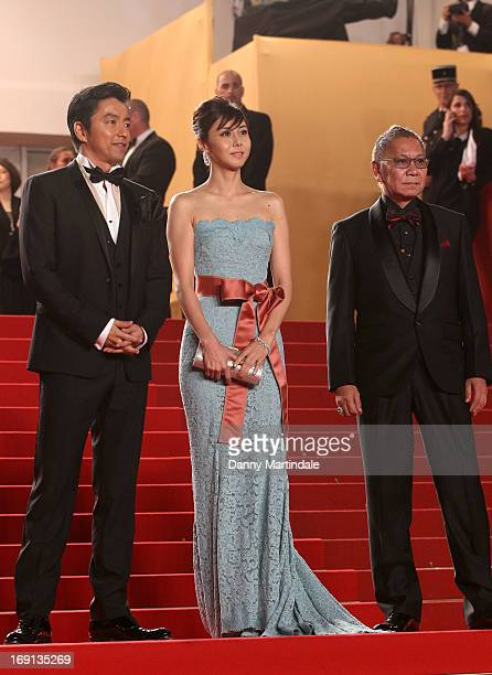 Takao Osawa Nanako Matsushima and Takashi Miike attend the Premiere of 'Wara No Tate' during the 66th Annual Cannes Film Festival at the Palais des...