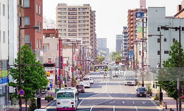 Takasaki Japan street city scene panorama at sunset