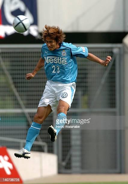 Takashi Fukunishi of Jubilo Iwata in action during the JLeague match between Kashima Antlers and Jubilo Iwata at Kashima Stadium on June 19 2004 in...