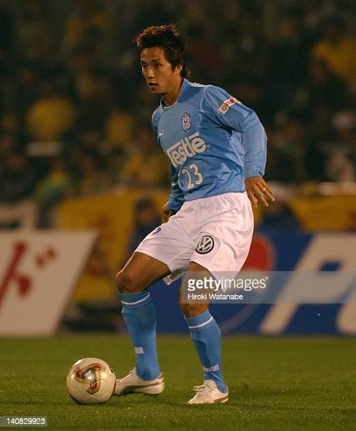 Takashi Fukunishi of Jubilo Iwata in action during the JLeague match between JEF United Ichihara and Jubilo Iwata at Ichihara Rinkai Stadium on...