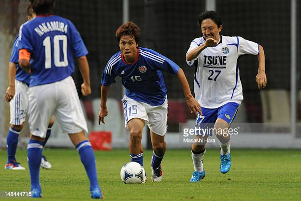 Takashi Fukunishi of Tsune Friends in action during the Tsuneyasu Miyamoto Testimonial match at Home's Stadium Kobe on July 16 2012 in Kobe Japan