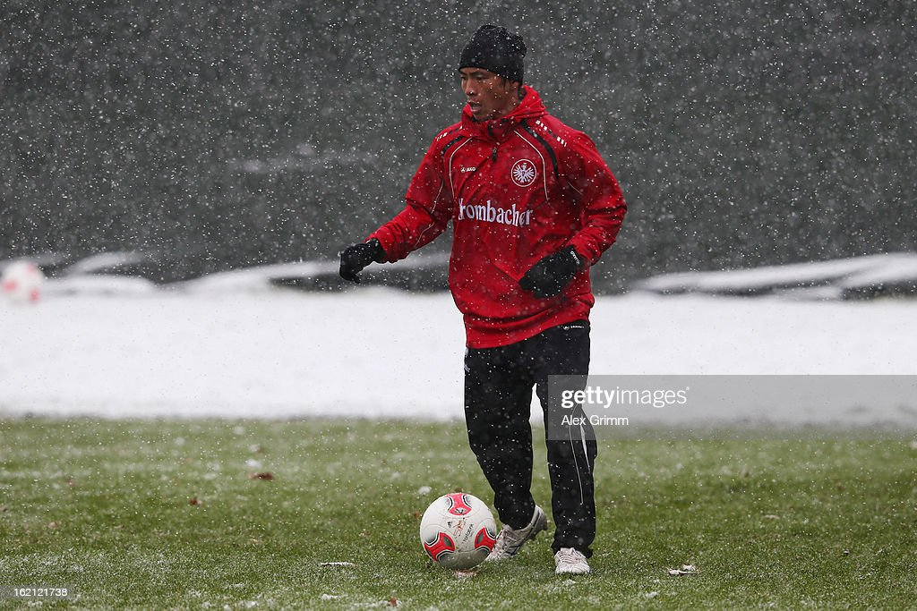 Takashi Inui controles the ball during a Eintracht Frankfurt training session at Commerzbank-Arena on February 19, 2013 in Frankfurt am Main, Germany.