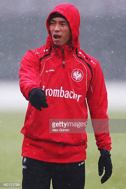 Takashi Inui looks on during a Eintracht Frankfurt training session at CommerzbankArena on February 19 2013 in Frankfurt am Main Germany