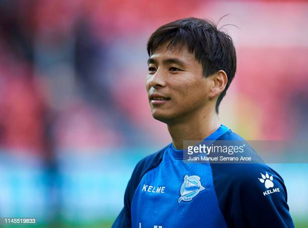 Takashi Inui of Deportivo Alaves looks on prior to the start the La Liga match between Athletic Club and Deportivo Alaves at San Mames Stadium on...