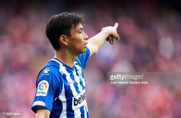 Takashi Inui of Deportivo Alaves reacts during the La Liga match between Athletic Club and Deportivo Alaves at San Mames Stadium on April 27 2019 in...