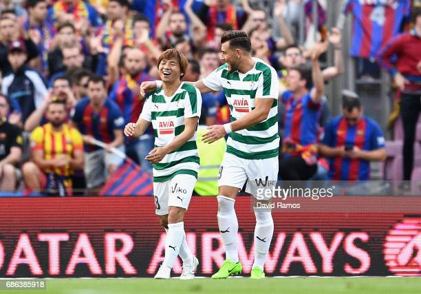 Takashi Inui of Eibar celebrates after scoring his sides first goal during the La Liga match between Barcelona and Eibar at Camp Nou on 21 May 2017...