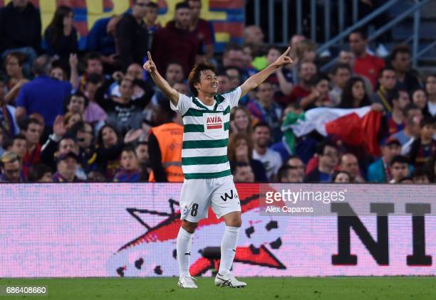 Takashi Inui of Eibar celebrates after scoring his sides second goal during the La Liga match between Barcelona and Eibar at Camp Nou on 21 May 2017...