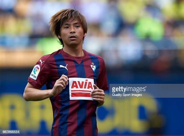 Takashi Inui of Eibar reacts during the La Liga match between Villarreal CF and SD Eibar at Estadio de la Ceramica on April 1 2017 in Villarreal Spain