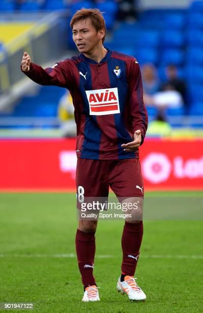 Takashi Inui of Eibar reacts during the La Liga match between Las Palmas and Eibar at Estadio Gran Canaria on January 6 2018 in Las Palmas Spain