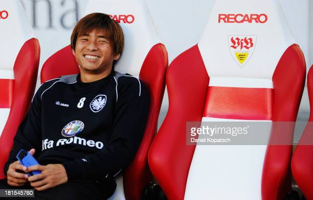 Takashi Inui of Frankfurt reacts prior to the Bundesliga match between VfB Stuttgart and Eintracht Frankfurt at MercedesBenz Arena on September 22...