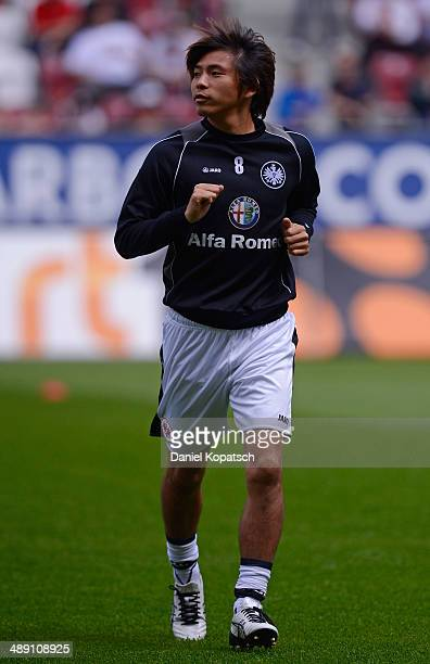 Takashi Inui of Frankfurt warms up prior to the Bundesliga match between FC Augsburg and Eintracht Frankfurt at SGL Arena on May 10 2014 in Augsburg...