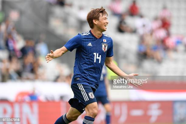 Takashi Inui of Japan celebrates scoring his side's second goal during the international friendly match between Japan and Paraguay at Tivoli Stadion...