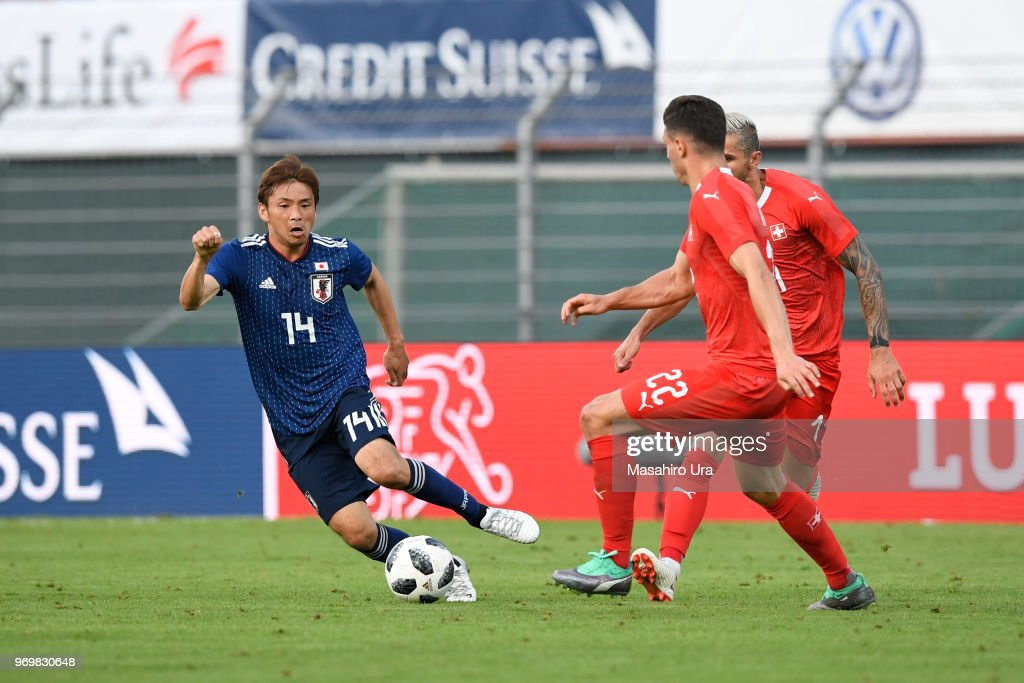 Takashi Inui of Japan in action during the international friendly match between Switzerland and Japan at the Stadium Cornaredo on June 8, 2018 in Lugano, Switzerland.