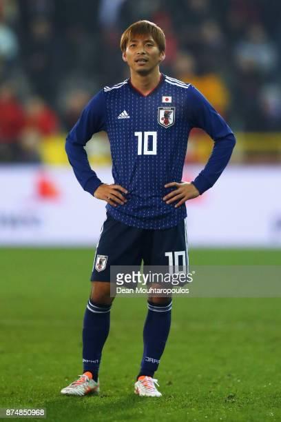 Takashi Inui of Japan looks on during the international friendly match between Belgium and Japan held at Jan Breydel Stadium on November 14 2017 in...