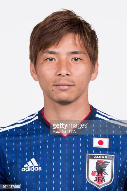Takashi Inui of Japan poses for a portrait during the official FIFA World Cup 2018 portrait session at the FC Rubin Training Grounds on June 14 2018...