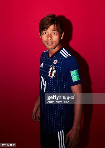 Takashi Inui of Japan poses for a portrait during the official FIFA World Cup 2018 portrait session at the FC Rubin Training Grounds on June 14, 2018...