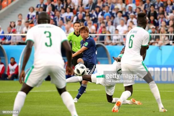 Takashi Inui of Japan scores his side's first goal during the 2018 FIFA World Cup Russia group H match between Japan and Senegal at Ekaterinburg...