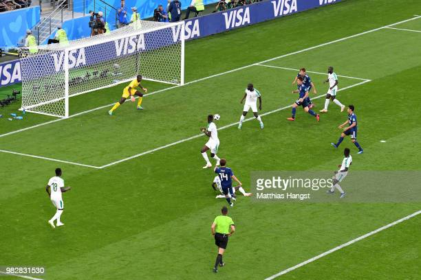 Takashi Inui of Japan scores his team's first goal during the 2018 FIFA World Cup Russia group H match between Japan and Senegal at Ekaterinburg...
