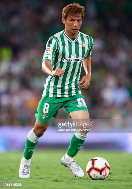 Takashi Inui of Real Betis Balompie in action during the La Liga match between Real Betis Balompie and Levante UD at Estadio Benito Villamarin on...