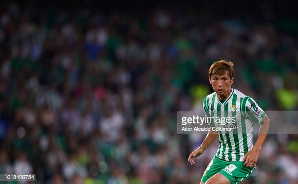 Takashi Inui of Real Betis Balompie looks on during the La Liga match between Real Betis Balompie and Levante UD at Estadio Benito Villamarin on...
