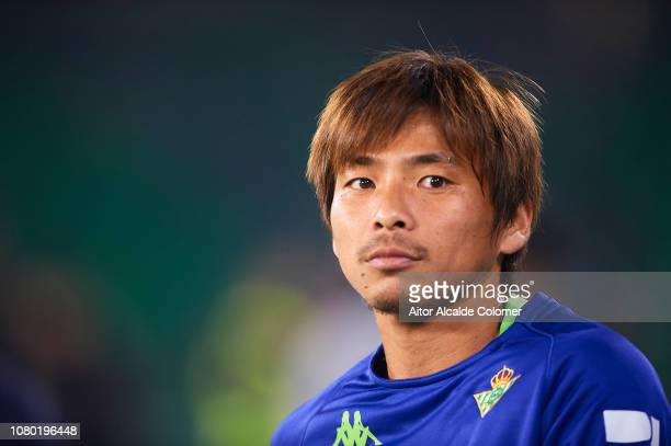 Takashi Inui of Real Betis Balompie looks on during the La Liga match between Real Betis Balompie and Rayo Vallecano de Madrid at Estadio Benito...