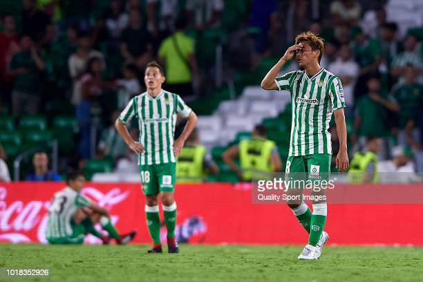 Takashi Inui of Real Betis reacts during the La Liga match between Real Betis Balompie and Levante UD at Estadio Benito Villamarin on August 17 2018...