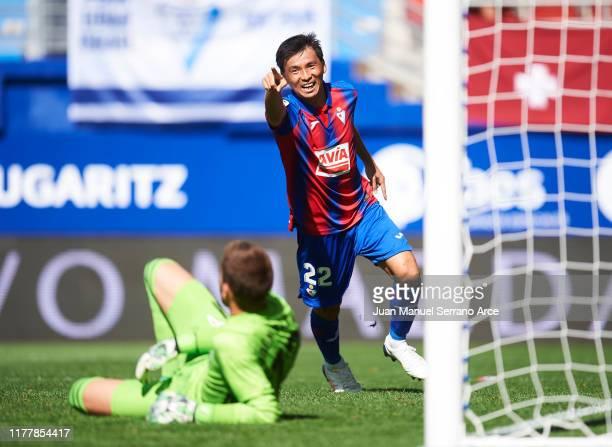 Takashi Inui of SD Eibar celebrates after scoring his team's second goal during the Liga match between SD Eibar SAD and RC Celta de Vigo at Ipurua...