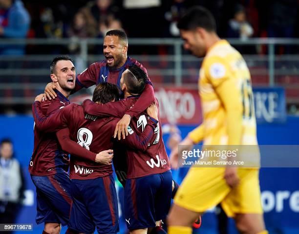 Takashi Inui of SD Eibar celebrates after scoring his team's third goal during the La Liga match between SD Eibar and Girona FC at Ipurua Municipal...