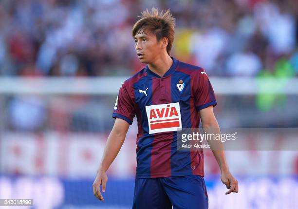 Takashi Inui of SD Eibar looks on during the La Liga match between Sevilla and Eibar at Estadio Ramon Sanchez Pizjuan on September 9 2017 in Seville...