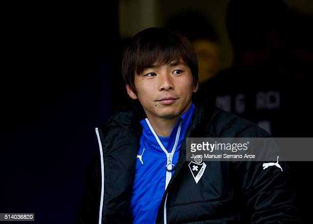 Takashi Inui of SD Eibar looks on prior to the start the La Liga match between SD Eibar and FC Barcelona at Ipurua Municipal Stadium on March 6 2016...