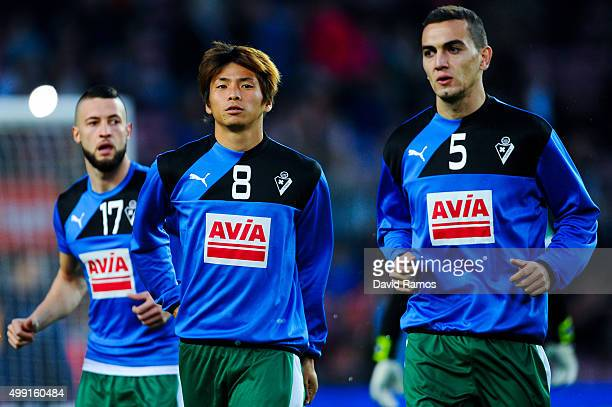 Takashi Inui of SD Eibar warms up ahead of the La Liga match between FC Barcelona and SD Eibar at Camp Nou on October 25 2015 in Barcelona Spain