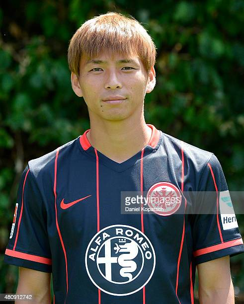 Takashi Inui poses during the Eintracht Frankfurt team presentation on July 15 2015 in Frankfurt am Main Germany