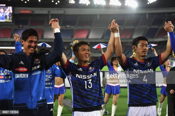 Takashi Kanai and Yokohama F.Marinos players celebrate their 2-1 victory in the J.League J1 match between Yokohama F.Marinos and Jubilo Iwata at...