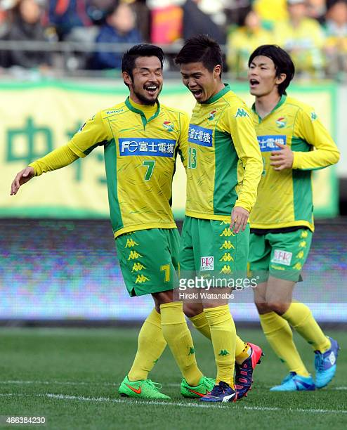 Takashi Kanai of JEF United Chiba celebrates scoring his team's second goal with his team mate Yuto Sato during the JLeague second division match...
