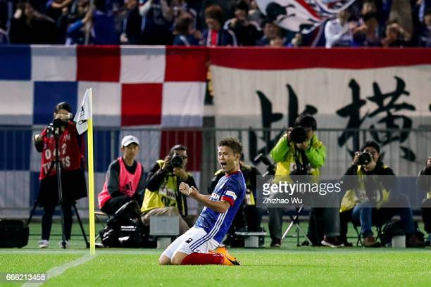 Takashi Kanai of Yokohama F.Marinos celebrates during J.League J1 match between Yokohama F.Marinos and Jubilo Iwata at Nissan Stadium on April 8,...