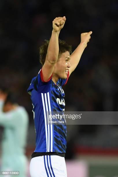 Takashi Kanai of Yokohama F.Marinos celebrates his side's 2-1 victory after the J.League J1 match between Yokohama F.Marinos and Jubilo Iwata at...