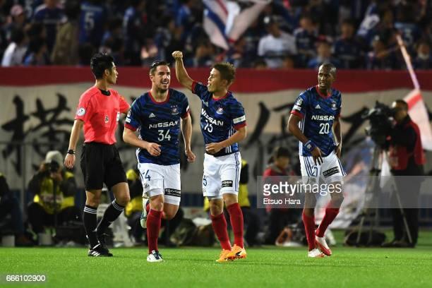 Takashi Kanai of Yokohama F.Marinos celebrates scoring his side's second goal during the J.League J1 match between Yokohama F.Marinos and Jubilo...