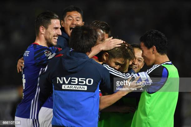 Takashi Kanai of Yokohama F.Marinos celebrates scoring his side's second goal with his team mates during the J.League J1 match between Yokohama...