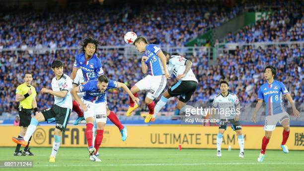 Takashi Kanai of Yokohama FMarinos heads the ball during the JLeague J1 match between Yokohama FMarinos and Kawasaki Frontale at Nissan Stadium on...
