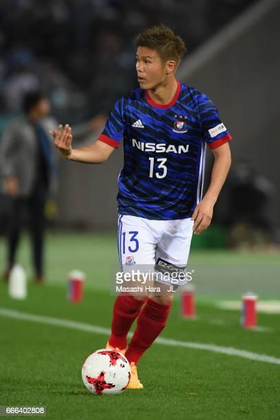 Takashi Kanai of Yokohama F.Marinos in action during the J.League J1 match between Yokohama F.Marinos and Jubilo Iwata at Nissan Stadium on April 8,...