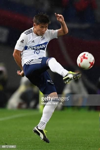Takashi Kanai of Yokohama F.Marinos in action during the J.League J1 match between FC Tokyo and Yokohama F.Marinos at Ajinomoto Stadium on June 18,...