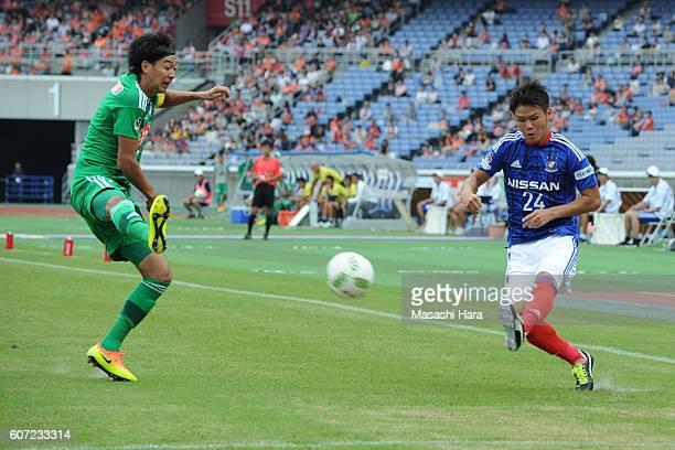 Takashi Kanai of Yokohama F.Marinos in action during the J.League match between Yokohama F.Marinos and Albirex Niigata at the Nissan Stadium on...