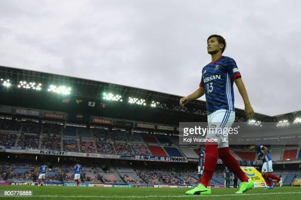 Takashi Kanai of Yokohama F.Marinos walks to the pitch prior to the J.League J1 match between Yokohama F.Marinos and Vissel Kobe at Nissan Stadium on...