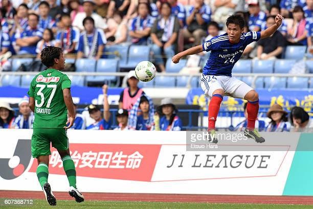 Takashi Kanai of Yokohama F.Marinos#24 in action during the J.League match between Yokohama F.Marinos and Albirex Niigata at the Nissan Stadium on...