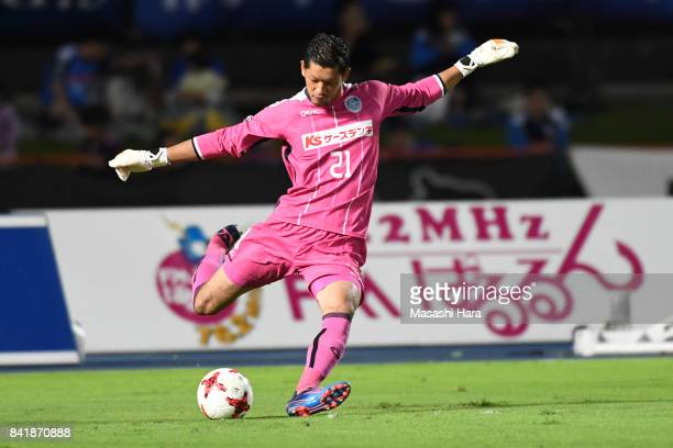 Takashi Kasahara of Mito Hollyhock in action during the JLeague J2 match between Mito Hollyhock and Nagoya Grampus at K's Denki Stadium on September...