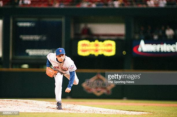 Takashi Kashiwada of the New York Mets pitches against the St Louis Cardinals at Busch Stadium on May 9 1997 in St Louis Missouri The Mets beat the...