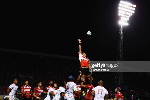Takashi Kikutani of Japan catches the line out ball during the IRB 2011 Rugby World Cup Pool A match between Tonga and Japan at Northland Events...