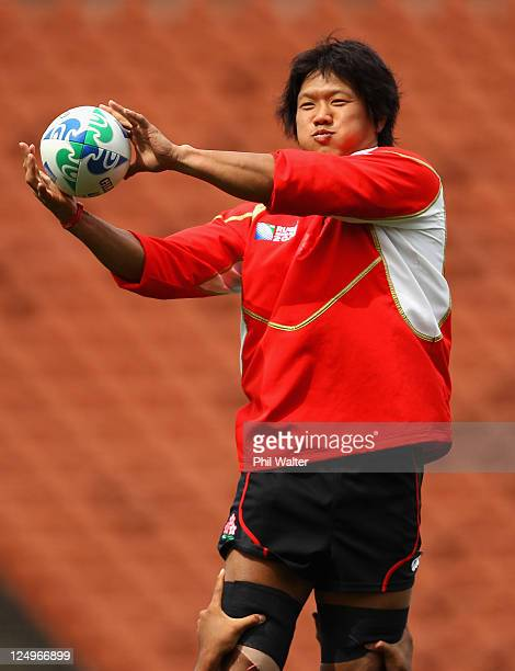Takashi Kikutani of Japan takes the ball in a lineout during a Japan IRB Rugby World Cup 2011 captain's run at Waikato Stadium on September 15, 2011...