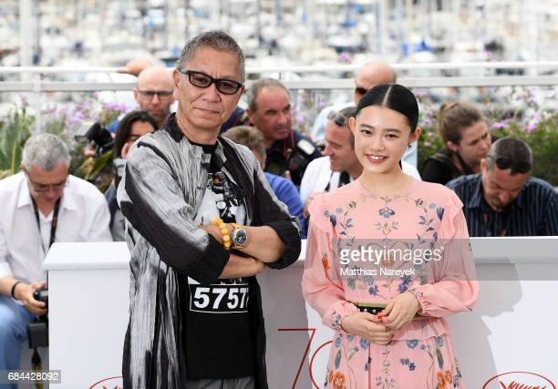 Takashi Miike and Hana Sugisaki attend the 'Blade Of The Immortal ' photocall during the 70th annual Cannes Film Festival at Palais des Festivals on...